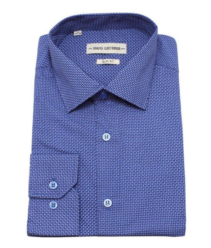 Рубашка Hans Grubber синяя, мелкий орнамент, приталенный силуэт