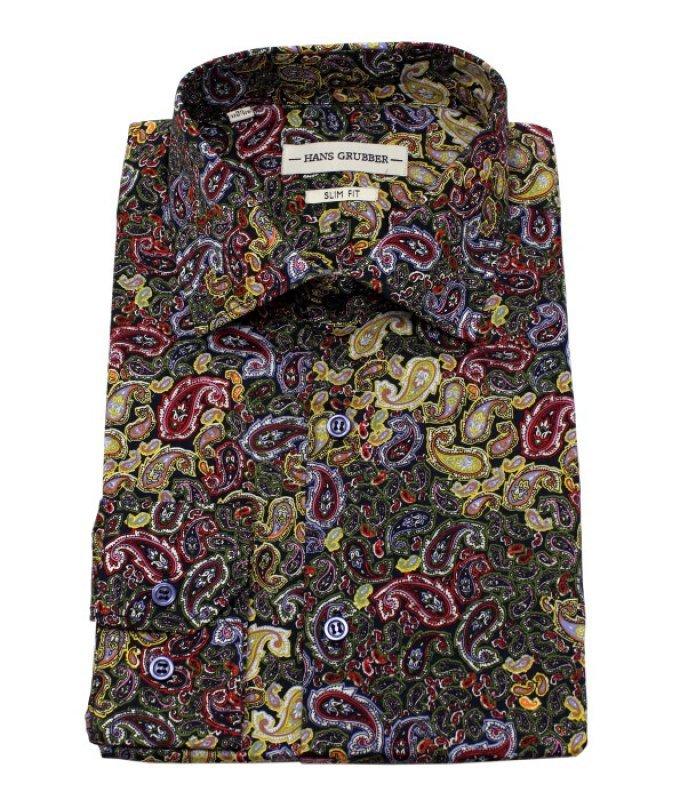 Рубашка Hans Grubber многоцветная, с узором, приталенный силуэт