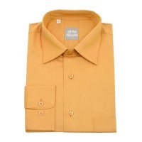 Рубашка Kriss Ricchi коричневая, однотонная, классический силуэт