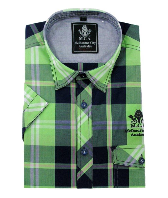 Рубашка MCA зеленая, в клетку, полуприталенный силуэт