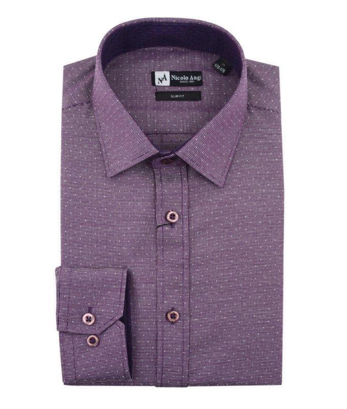 Рубашка Nicolo Angi фиолетовая, мелкий орнамент, приталенный силуэт, длинный рукав