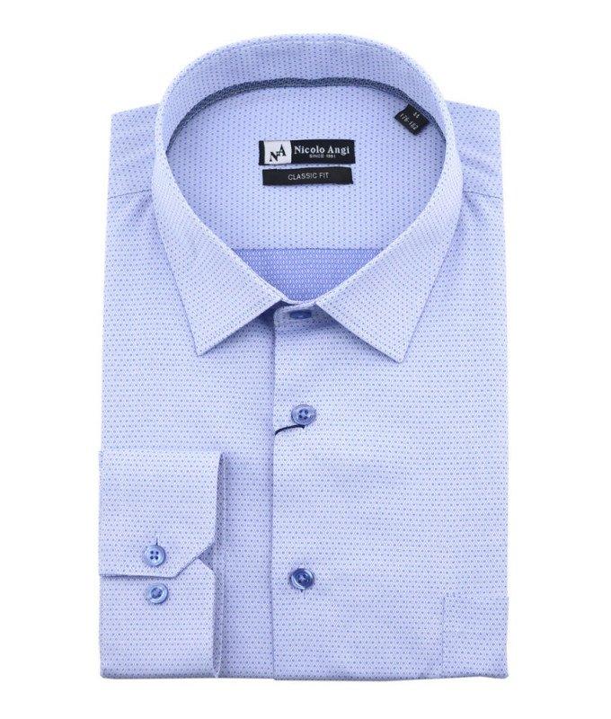 Рубашка Nicolo Angi голубая, мелкий орнамент, классический силуэт, длинный рукав