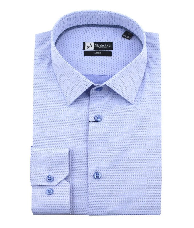 Рубашка Nicolo Angi голубая, мелкий орнамент, приталенный силуэт, длинный рукав