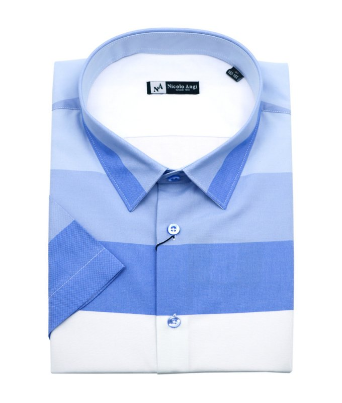 Рубашка Nicolo Angi голубая, в полоску, полуприталенный силуэт
