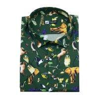 Рубашка Nicolo Angi зеленая, с животными, классический силуэт