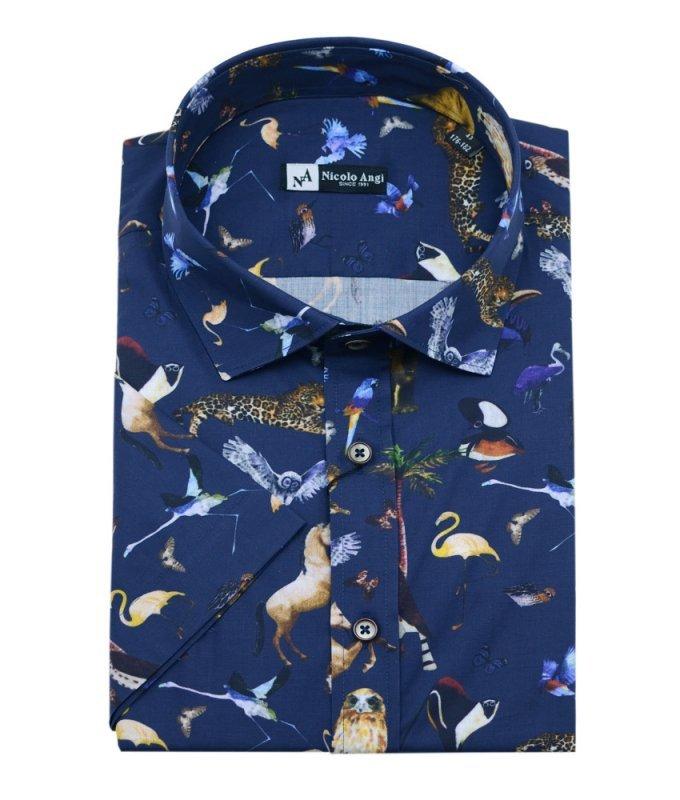 Рубашка Nicolo Angi синяя, с принтом, приталенный силуэт