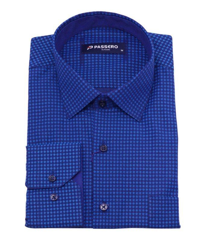 Рубашка Passero синяя, мелкий орнамент, классический силуэт