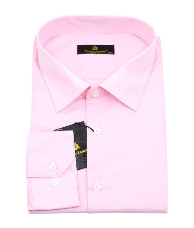 Рубашка Recardo Lazotti розовая, однотонная, приталенный силуэт