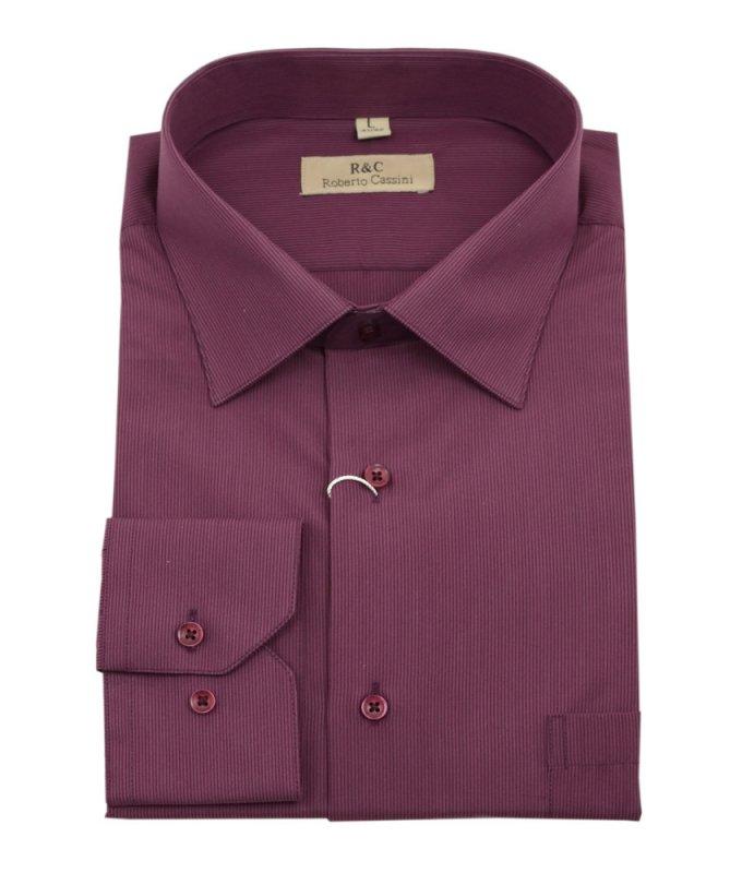 Рубашка Roberto Cassini бордовая, в полоску, классический силуэт