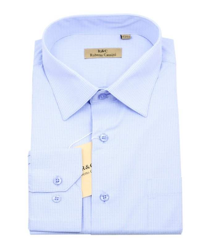 Рубашка Roberto Cassini голубая, с узором, классический силуэт
