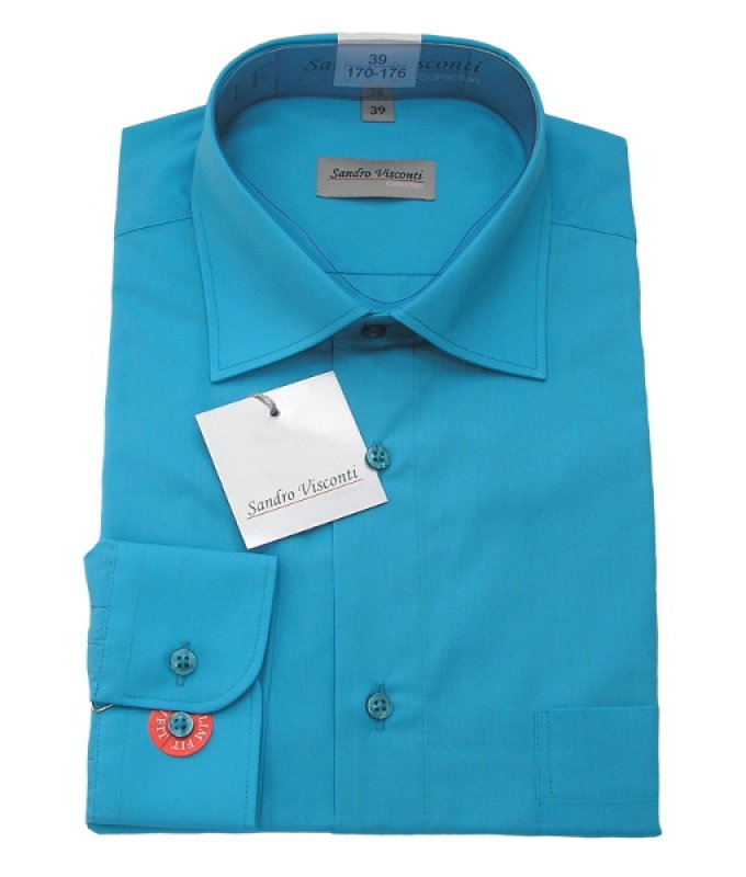 Рубашка Sandro Visconti ярко-голубая, однотонная, полуприталенный силуэт