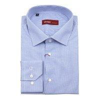 Рубашка Vester синяя, в клетку, классический силуэт