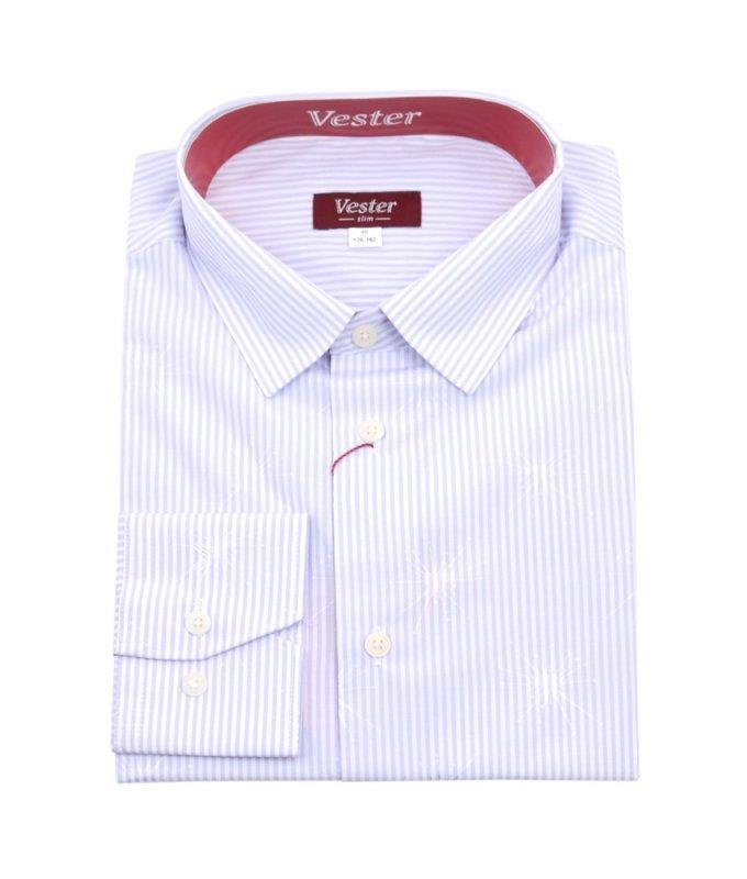 Рубашка Vester сиреневая, с узором, приталенный силуэт
