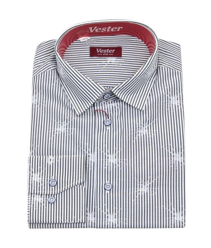 Рубашка Vester серая, с узором, приталенный силуэт
