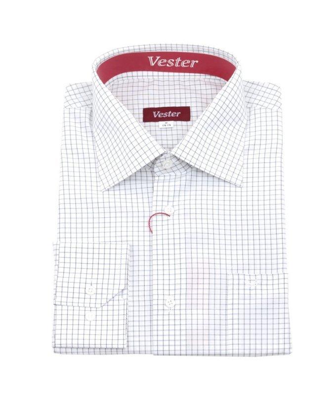 Рубашка Vester белая, в клетку, классический силуэт