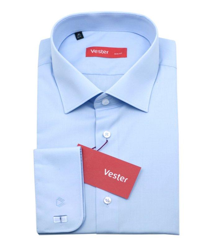 Рубашка Vester голубая, однотонная, приталенный силуэт