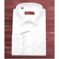 Рубашка Vester белая, однотонная, приталенный силуэт, длинный рукав
