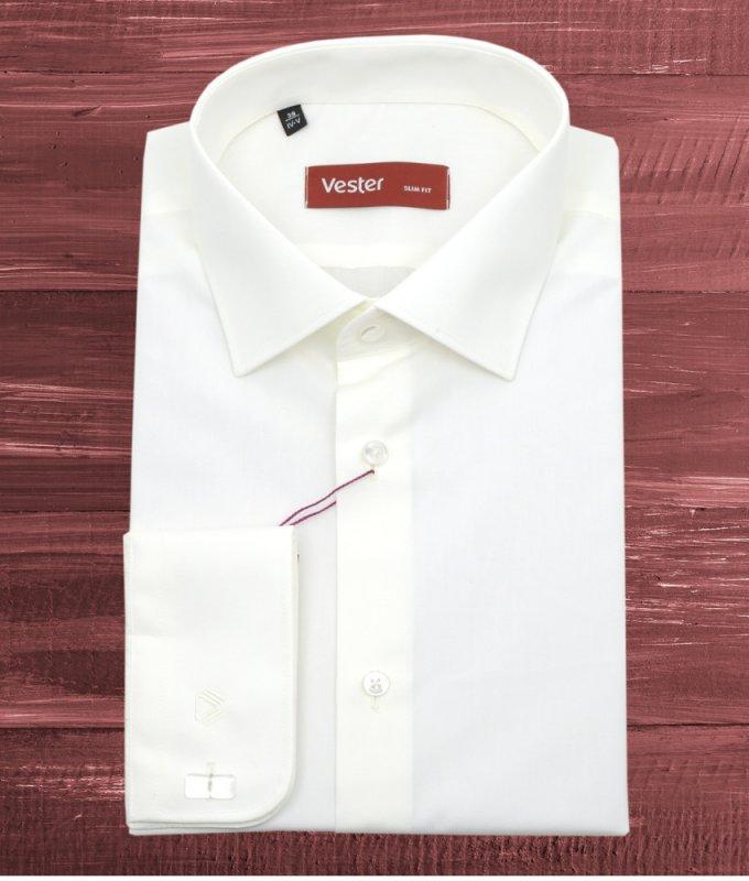 Рубашка Vester бежевая/молочная, однотонная, приталенный силуэт