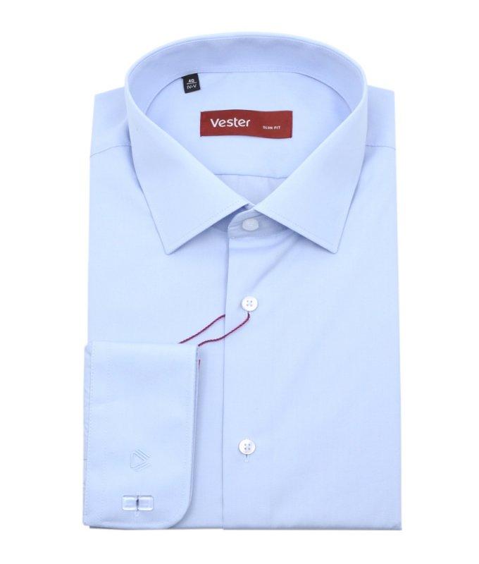 Рубашка Vester голубая, однотонная, приталенный силуэт, длинный рукав