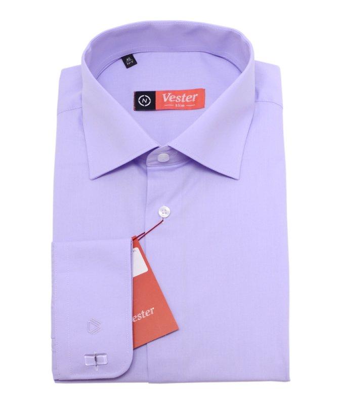 Рубашка Vester сиреневая, однотонная, приталенный силуэт
