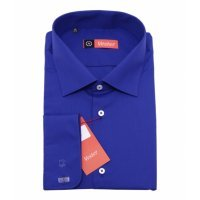 Рубашка Vester ярко- синяя, однотонная, классический силуэт