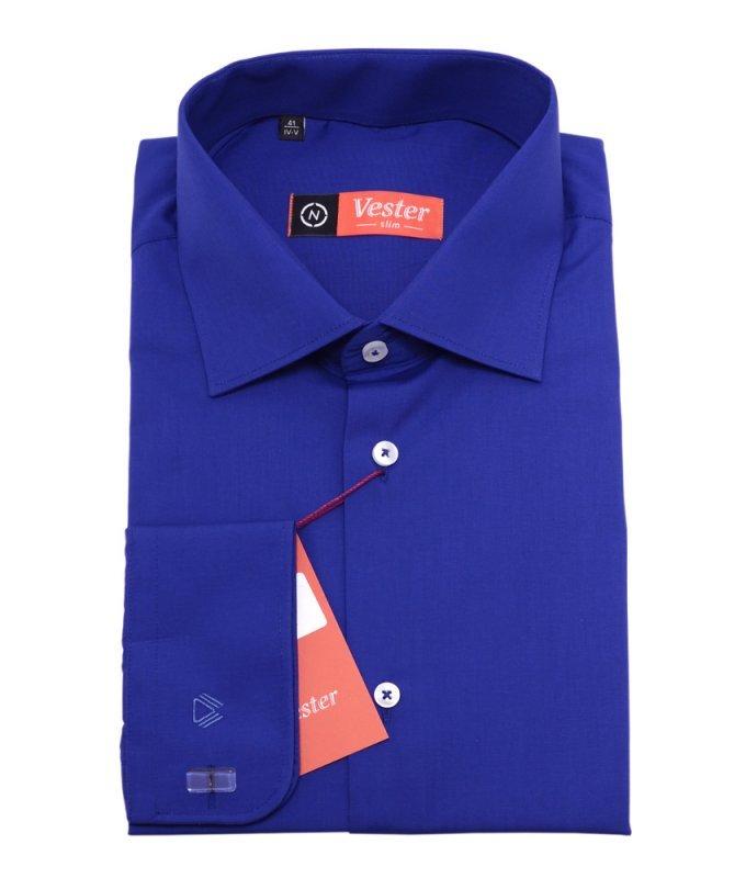 Рубашка Vester ярко-синяя, однотонная, приталенный силуэт
