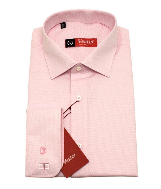Рубашка Vester розовая, мелкий орнамент, приталенный силуэт