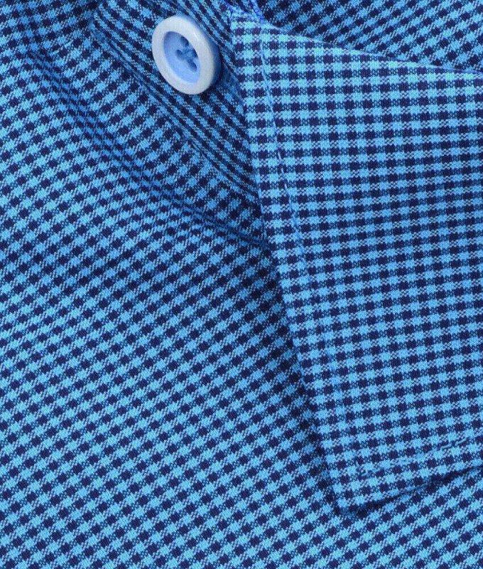 Рубашка Vester голубая, в клетку, классический силуэт