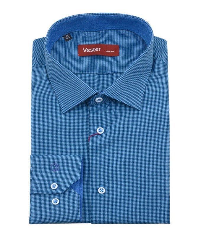 Рубашка Vester синяя, в клетку, приталенный силуэт
