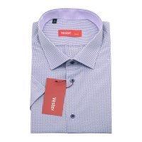 Рубашка Vester фиолетовая, в клетку, приталенный силуэт