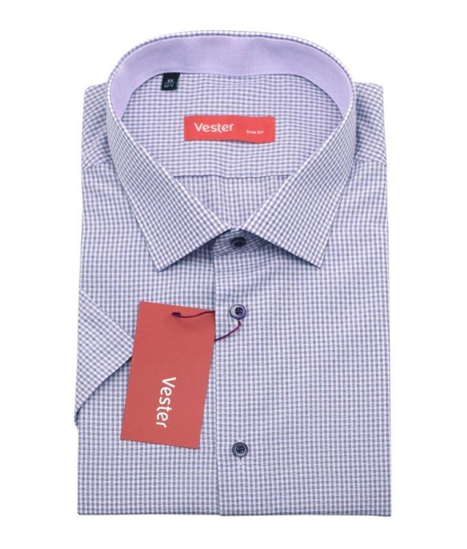 Рубашка Vester сиреневая, в клетку, приталенный силуэт