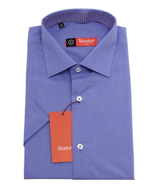 Рубашка Vester синяя, однотонная, приталенный силуэт