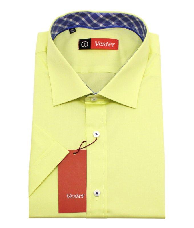 Рубашка Vester желтая, однотонная, классический силуэт