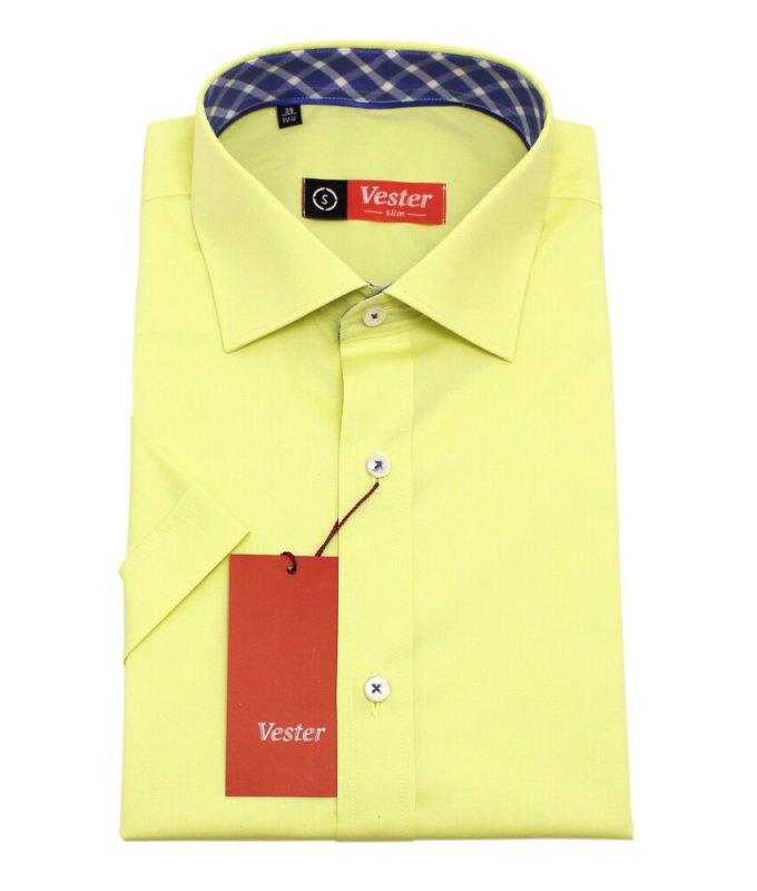 Рубашка Vester желтая, однотонная, приталенный силуэт