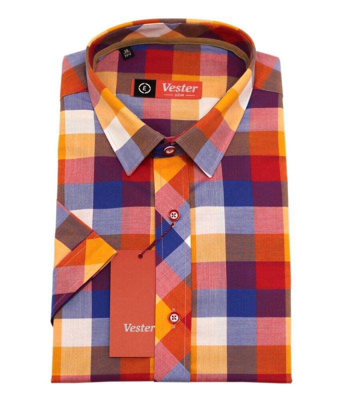 Рубашка Vester многоцветная, в клетку, приталенный силуэт