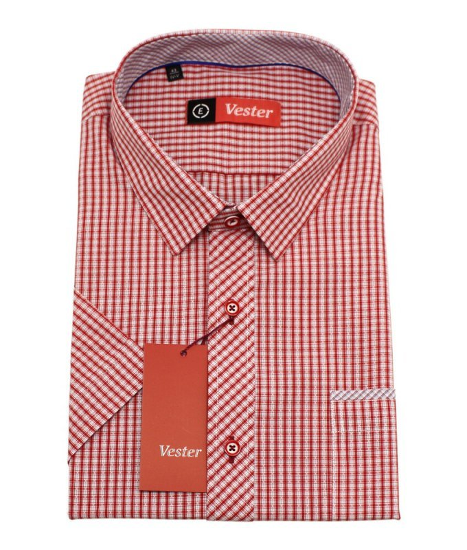 Рубашка Vester красная, в клетку, классический силуэт