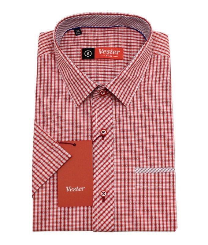 Рубашка Vester красная, в клетку, приталенный силуэт