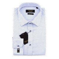 Рубашка Vicoel белая, мелкий орнамент, приталенный силуэт, длинный рукав