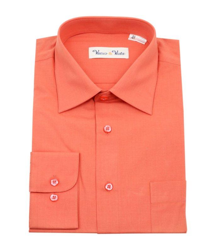 Рубашка Vinzo Vista оранжевая, однотонная, классический силуэт