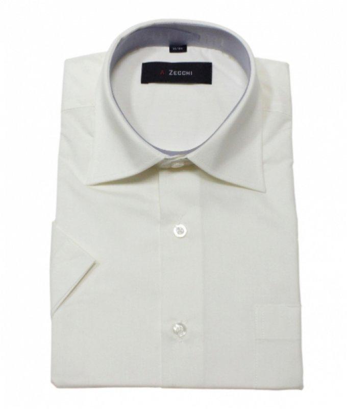 Рубашка Zecchi бежевая/молочная, однотонная, классический силуэт