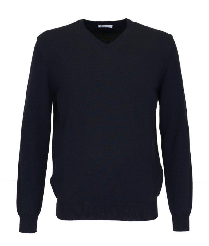 Пуловер Berlot темно-синий, однотонный