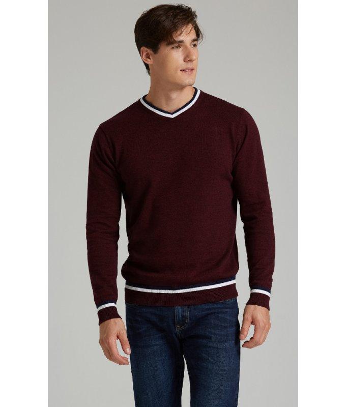 Пуловер Fine Joyce бордовый, однотонный