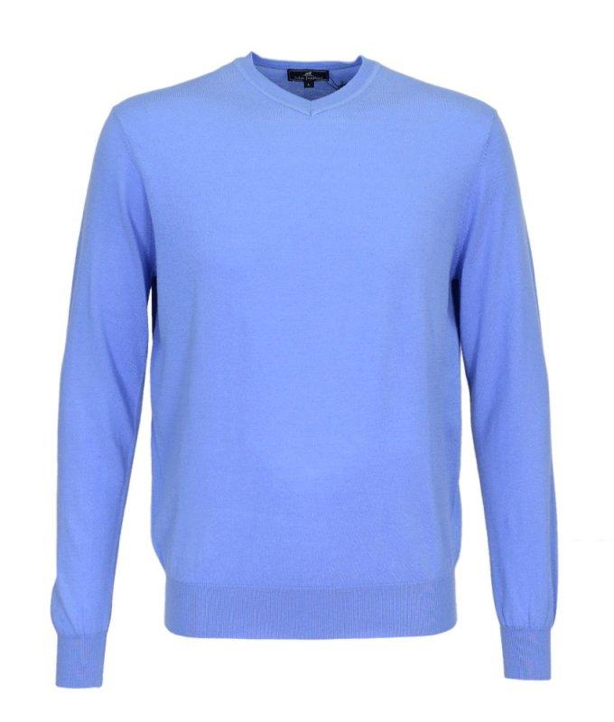 Пуловер John Jeniford голубой, однотонный