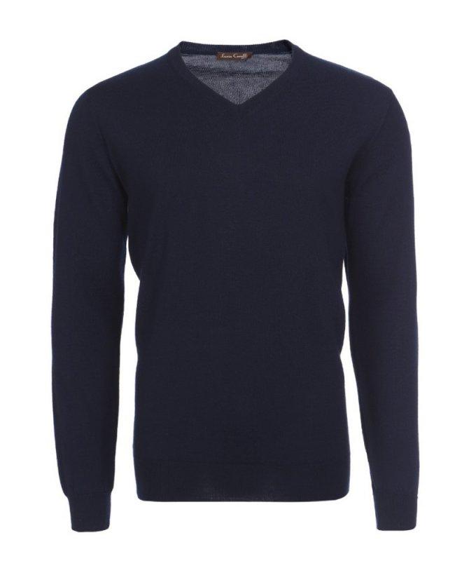 Пуловер Lario Covaldi синий, однотонный