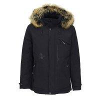 Куртка TAIS черная, с меховой опушкой