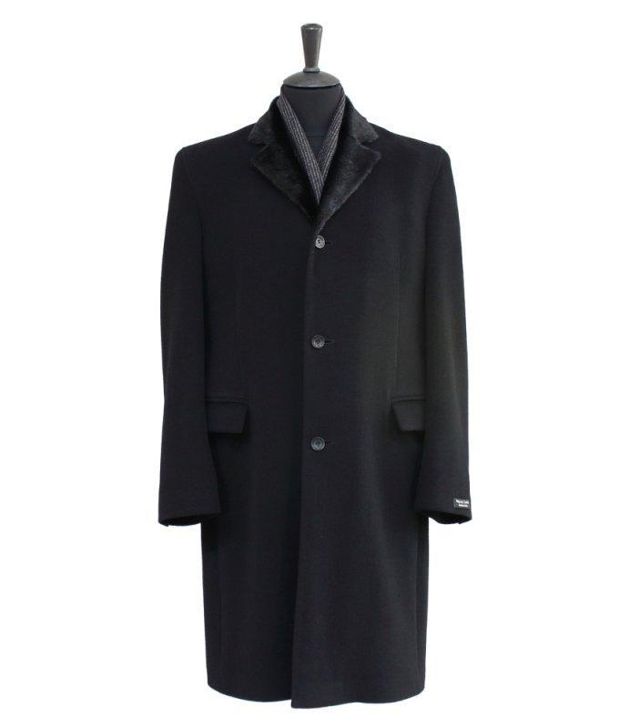 Пальто Alexander демисезонное, черное с меховым воротником