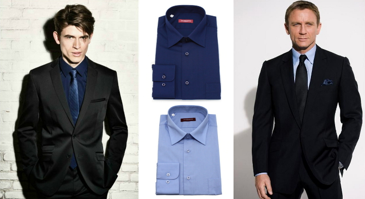 black suit blue shirt